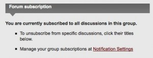 Subscription panel on group home page